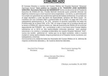 """Cuerpo Médico del Hospital Nacional """"Almanzor Aguinaga Asenjo"""" hace público su respaldo al Secretario Nacional del SINAMSSOP"""