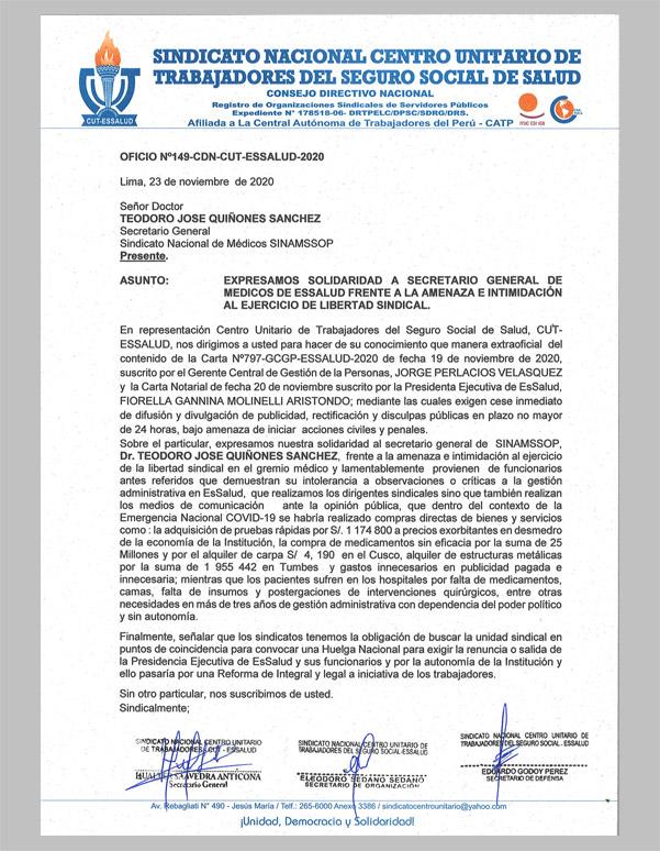 Centro Unitario de Trabajadores del Seguro Social de Salud, CUT   ESSALUD expresa su solidaridad con el SINAMSSOP
