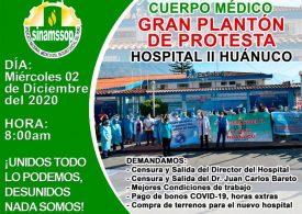 GRAN PLANTÓN DE PROTESTA HOSPITAL II HUÁNUCO