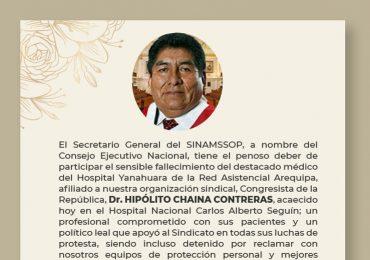 Expresamos nuestras más sentidas condolencias por el sensible fallecimiento del Dr. Hipólito Chaina Contreras