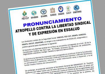 PRONUNCIAMIENTO: Atropello contra la libertad sindical y de expresión en EsSalud