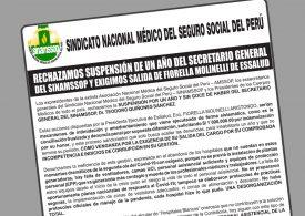 Rechazamos suspensión de un año del secretario general del sinamssop y exigimos salida de Fiorella Molinelli de EsSalud