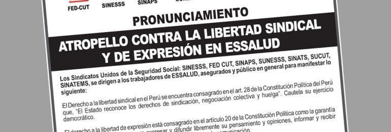 Gremios Unidos contra atropello a la Libertad Sindical y de Expresión en apoyo al Dr. Teodoro Quiñones. Publicado hoy en La República