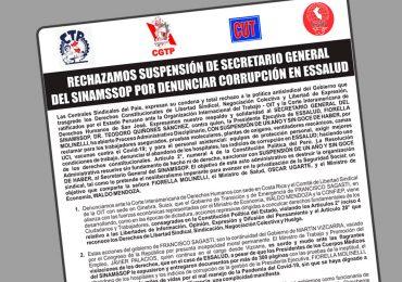Centrales sindicales del país condenan y rechazan suspensión de Secretario General del SINAMSSOP y piden intervención de la CIDH y OIT