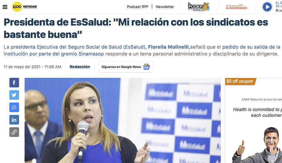 """Fiorella Molinelli llama problemas """"personales"""" a lucha del SINAMSSOP por abandono de los hospitales y corrupción"""