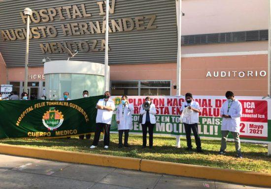 Médicos de la Red Asistencial Ica realizaron noveno plantón de protesta denunciando caos asistencial en EsSalud