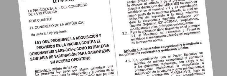 Congreso aprobó por insistencia Ley que autoriza importación de vacunas al sector privado