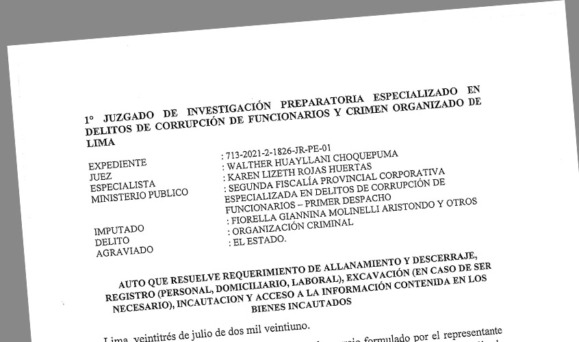 SINAMSSOP obtuvo como primicia documento formal de allananiento de la fiscalía contra Fiorella  Molinelli y funcionarios por corrupción
