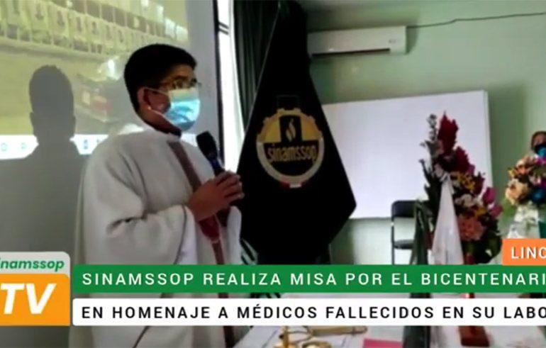 SINAMSSOP realizó misa por el Bicentenario en homenaje a los médicos caídos en la pandemia del Covid-19