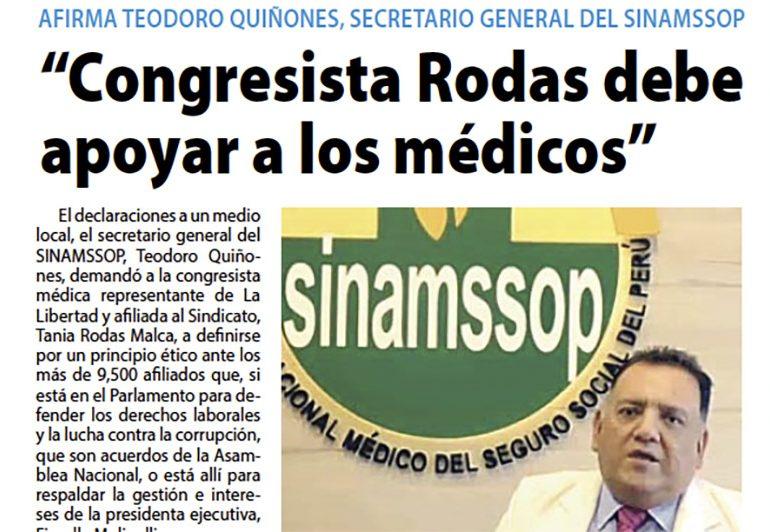 """""""Congresista Rodas debe apoyar a los médicos"""""""