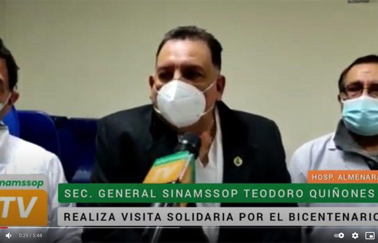 Secretario general visitó a colegas de guardia del hospital Almenara reafirmando su apoyo pleno
