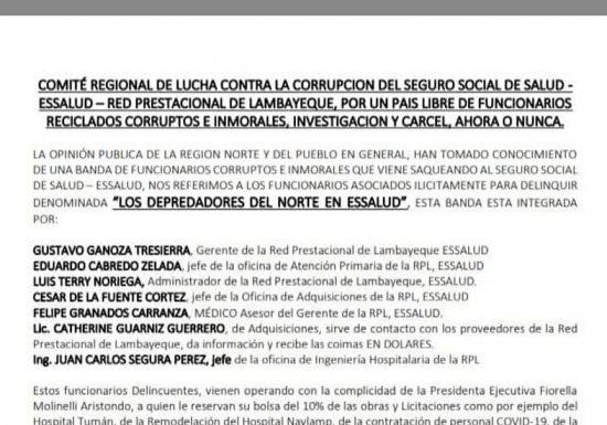 Comité Regional de Lucha contra la corrupción de EsSalud-Lambayeque exige inmediata investigación a funcionarios asociados ilícitamente para delinquir