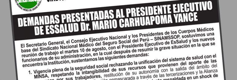 Demandas presentadas al presidente ejecutivo de EsSalud Dr. Mario Carhuapoma Yance
