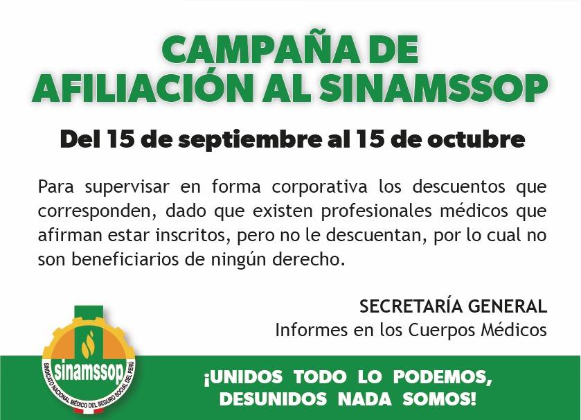 Campaña de afiliación al SINAMSSOP