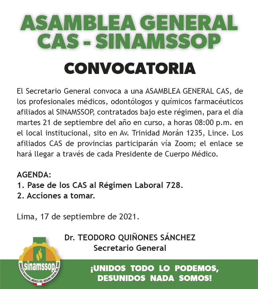 Asamblea General CAS SINAMSSOP