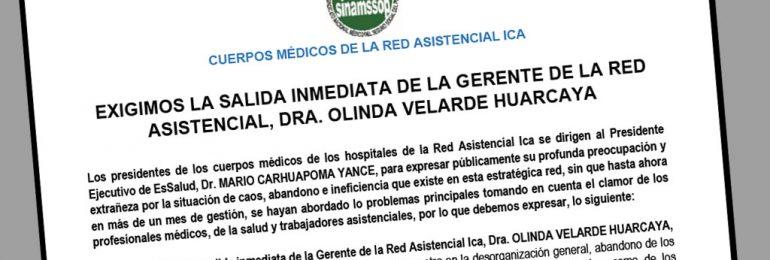 Presidentes de cuerpos médicos de Ica exigen la salida inmediata de la Gerente de la Red Asistencial, Dra. Olinda Velarde Huarcaya