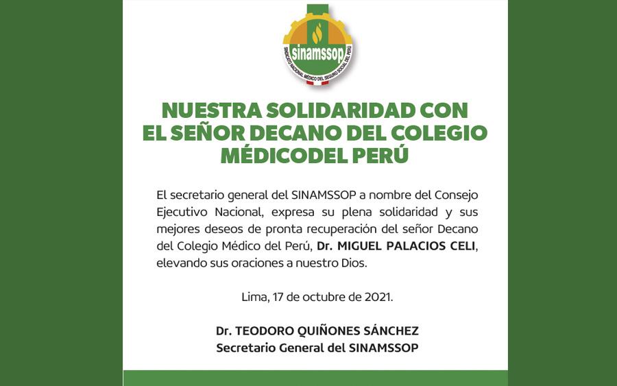 Nuestra solidaridad con el señor decano del Colegio Médico del Perú
