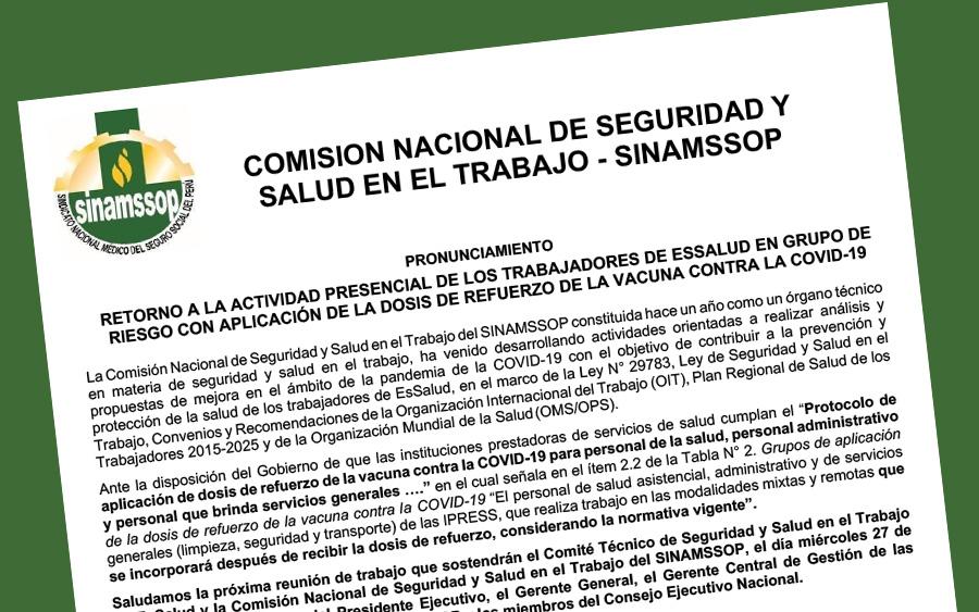 Retorno a la actividad presencial de los trabajadores de EsSalud en grupo de riesgo con aplicación de la dosis de refuerzo de la vacuna contra la Covid-19