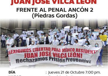 Vigilia por la libertad del médico residente Juan José Vilca León
